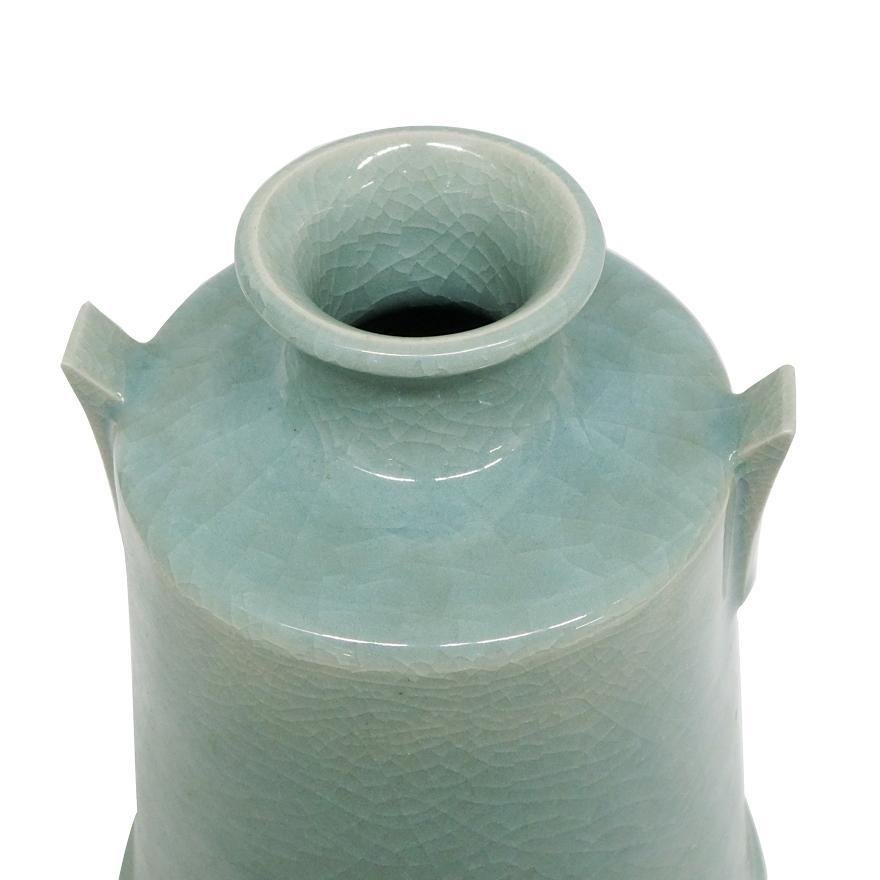 堂前忠正 青磁壺 花器 花瓶 花入 共箱 y-258 antiquesjikoh 05