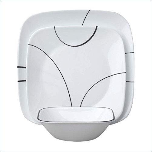★新品★(Black) - Corelle Square Simple Lines 18-Piece Dinnerware Set, Service for 6【並行輸入品】