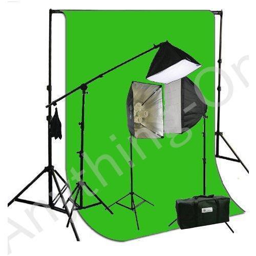 新品 ePhotoInc 3200·K暖かい照明10·x 20·Muslin Chromakeyグリーン画面背景サポートスタンドキット2700ワットヘ