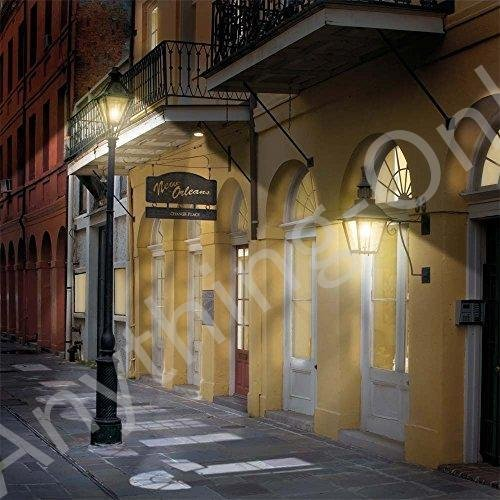 新品 写真バックドロップ·French Quarter Alley Nighttime·10·x 10·ft。·100·%シームレスなポリエス
