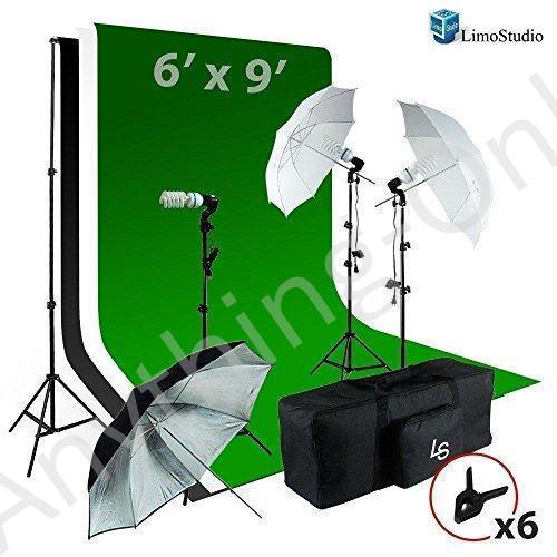 新品 LimoStudio 6·x9·Ftホワイト/ブラック/グリーンChromakey Fabricated Backdropモスリン背景画面傘照明キット