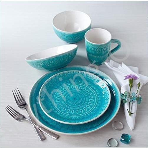 ★新品★Euro Ceramica Fez 20ピース食器セット ブルー Fez 86517TGB【並行輸入品】