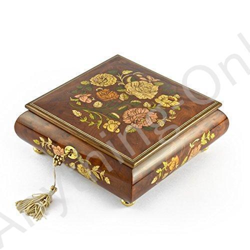 【新品】ゴージャスな18·Note Spring Roses Inlay Musical Jewelry Box withロックとキー 279.0 Christmas Tree (0' Tannenbaum) -