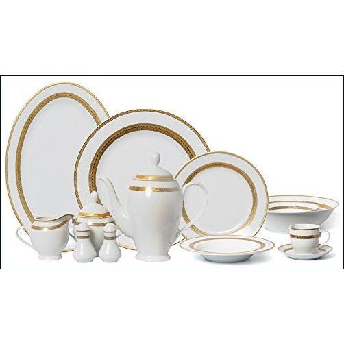 ★新品★Euro磁器57-piece Large Dinner Banquetセット、24·K金メッキテーブルウェア食器類、豪華Bone Chinaサービスfor 8 ホ