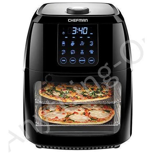 【新品】Chefman 6.3 Quart Digital Air Fryer+ Rotisserie, Dehydrator, Convection Oven, 8 Touch Screen Presets Fry, Roast, Dehydrate & Bak