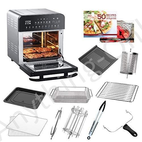 【新品】GoWISE USA 14.7-Quart Air Fryer Grill with Dual Heating Elements & Oven with Rotisserie, Dehydrator, Preheat and Broil Functions