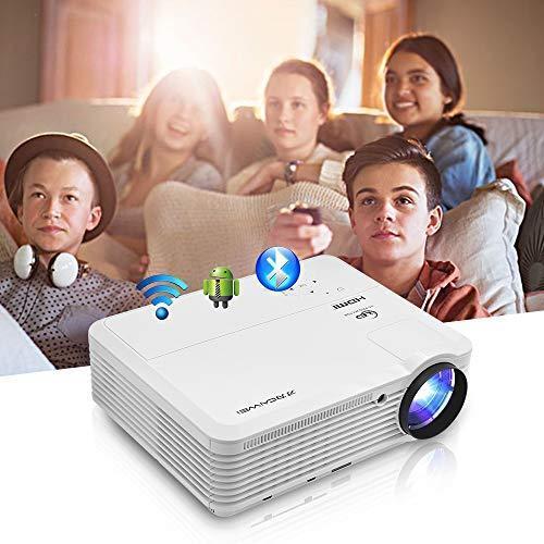 WiFiプロジェクター Bluetooth ワイヤレス接続 Android 1080P対応 4800lm ホームプロジェクター スピーカー内