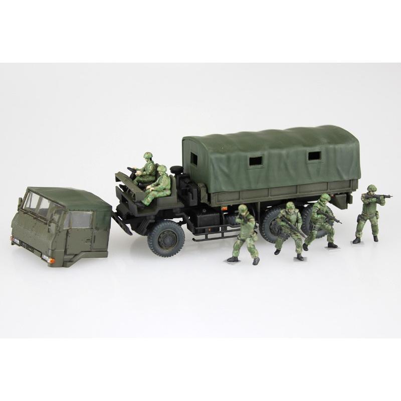 陸上自衛隊 3 1/2t トラック装甲強化型(隊員6体セット) 1/72 ミリタリーモデルキット No.11 #プラモデル|aoshima-bk|05