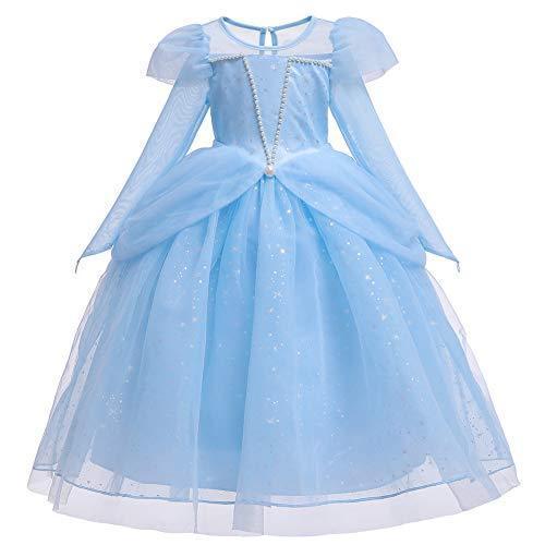 (フォーペンド)Forpend ドレス 子供 エルサ風 コスチューム プリンセンスワンピース ティアラ ステッキ付 110 120|aozoracanp