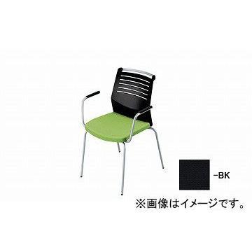 ナイキ/NAIKI 会議用チェアー 肘掛付 肘掛付 4本脚/背ヌード ブラック E291-BK 600×570×822mm