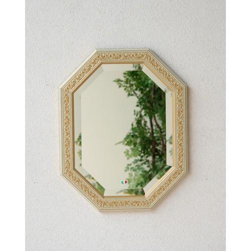 八角ミラー (ベージュ/ゴールド) イタリア 高級 クラシック エレガント 木製額 輸入 鏡 玄関 リビング 彫り お洒落 インテリア 壁掛け