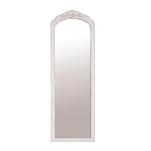 オリーブモチーフのアンティーク風ミラー(姿見/ホワイト) 壁掛け シャビーシック お洒落 フレンチ インテリア 玄関 ウォール 輸入 デザイン