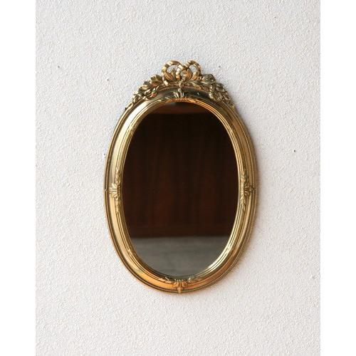 真鍮ゴールドが高級感のある楕円形の壁掛けミラー(イタリア) ウォール 鏡 鏡 ヨーロピアン 高級 エレガント クラシカル お洒落 インテリア リボン レリーフ