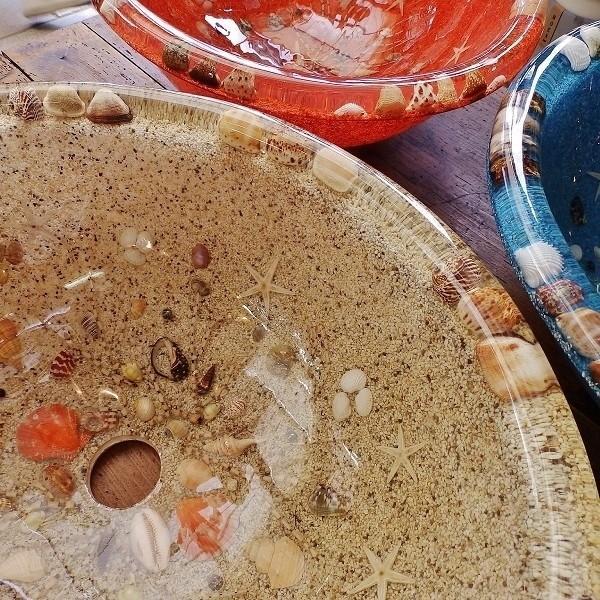 アウトレット 訳あり 貝殻の洗面ボウル 楕円 オーバル 貝殻 リゾート風 樹脂製 洗面ボウル apoa 07
