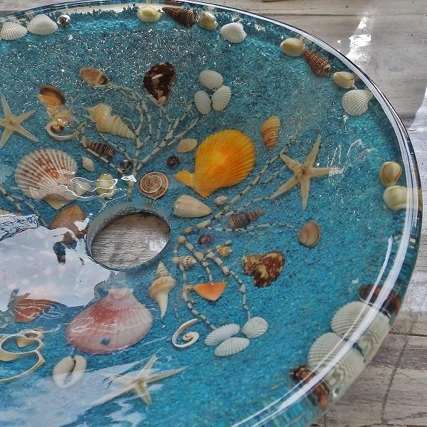 貝殻の洗面ボウル Sサイズ 貝殻 リゾート風 オリジナル 樹脂製 洗面ボウル|apoa|11