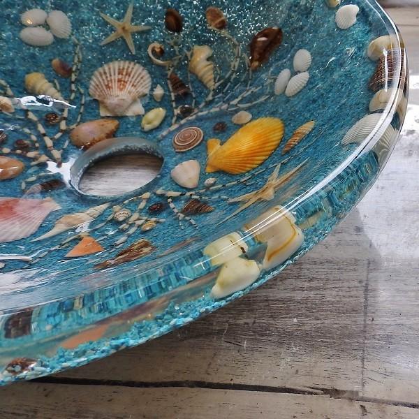 貝殻の洗面ボウル Sサイズ 貝殻 リゾート風 オリジナル 樹脂製 洗面ボウル|apoa|10