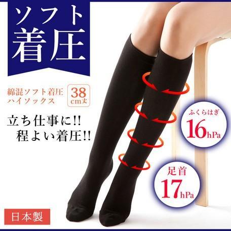 日本製 綿混 ソフト着圧 ハイソックス  3足セット メール便送料無料|applemint-zakka2