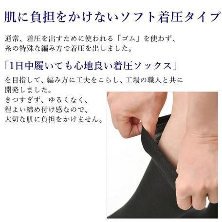 日本製 綿混 ソフト着圧 ハイソックス  3足セット メール便送料無料|applemint-zakka2|02