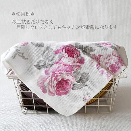 薔薇柄 綿ふきん ディッシュクロス 柄違い3枚セット 綿100% 日本製 メール便送料無料|applemint-zakka2|03