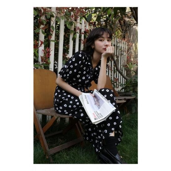 花柄 ワンピース 黒 白 ロングワンピース ロング丈 レトロ フリル かわいい 夏 清楚 御呼ばれ|apport|06