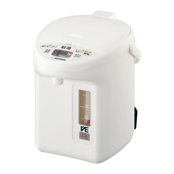 象印 CV-TZ22-WA ホワイト メーカー公式ショップ 新作アイテム毎日更新 VE電気まほうびん 優湯生 2.2L まほうびん保温 マイコン沸とう電気ポット スピード沸とう