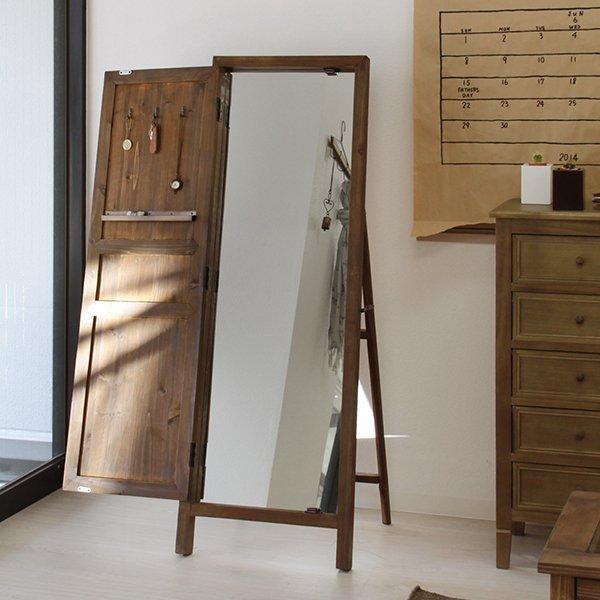 スタンドミラー 年間定番 ドアミラー 鏡 姿見 全身 全身鏡 アンティーク フレンチカントリー ブラウン 東谷 TSM-13BR 信頼 収納付き 扉付き