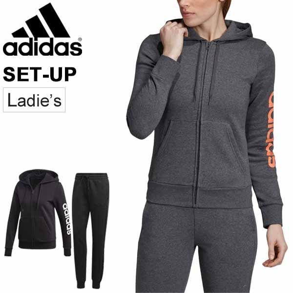 スウェット 上下セット レディース アディダス adidas W リニア フルジップフーディー ロングパンツ 裏起毛 スエット 上下組 スポーツウェア/FRV12-FRU94
