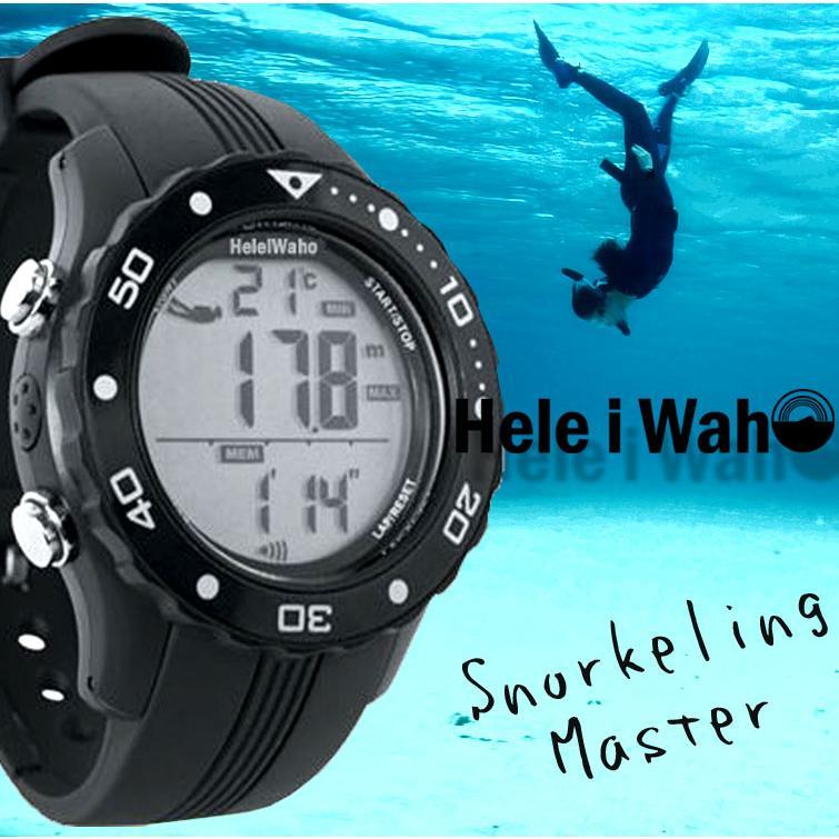 スノーケリングマスター HeleiWaho ヘレイワホ ダイバーズウォッチ 防水 腕時計 水深計 シュノーケリング ダイビング|aqrosnetshop