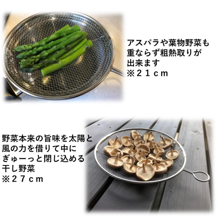 かんだ カンダ 盆ざる 日本製 ザル  リング付き ステンレス 燕三条 平ザル 調理器具 21cm aquamint 07
