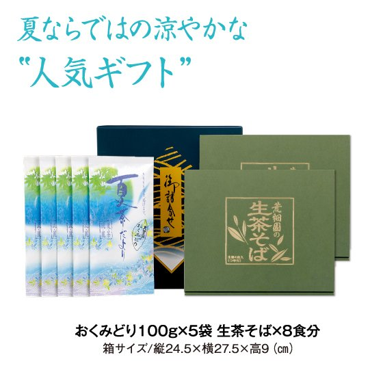 敬老の日 プレゼント お茶 ギフト 2021 水出し緑茶 蕎麦 送料無料 おくみどり生茶そばセット チルド便 arahata 05