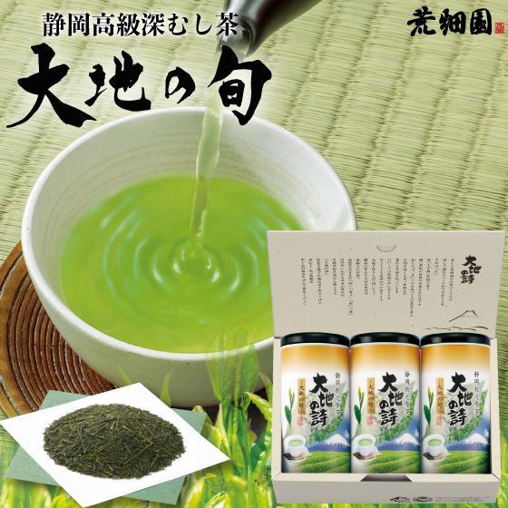 お歳暮 お茶 緑茶 茶葉 プレゼント ギフト 静岡茶 カテキン 大地の旬100g3本箱入 送料無料|arahata