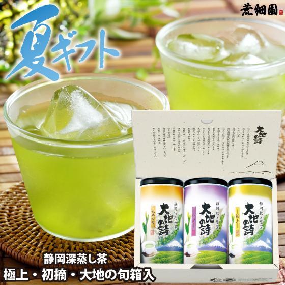 お歳暮 お茶 緑茶 茶葉 プレゼント ギフト 静岡茶 カテキン 送料無料 極上・初摘・大地の旬100g 3本箱入 arahata
