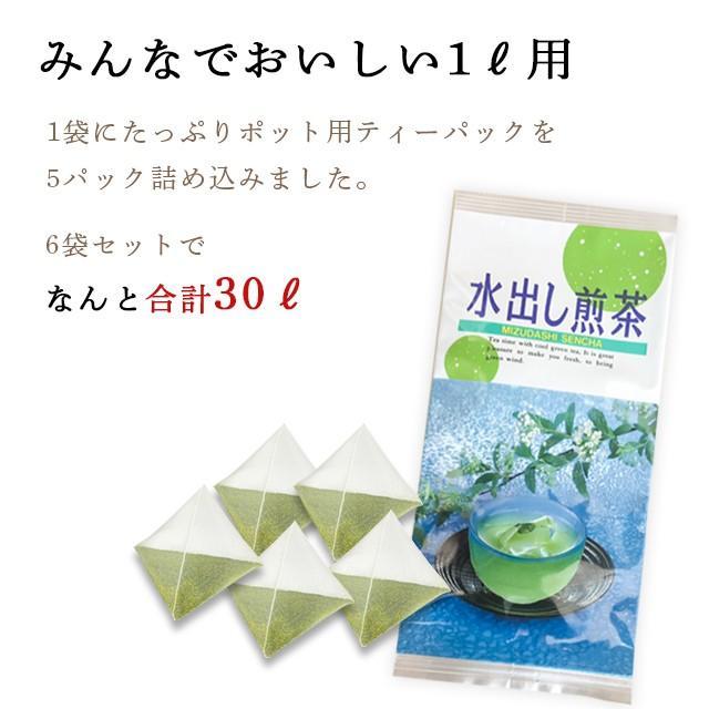 お茶 緑茶 静岡茶 カテキン 徳用 お得 ティーバッグ 水出し煎茶ティーパック 5g×5ヶ 6袋セット 送料無料 セール わけあり arahata 05