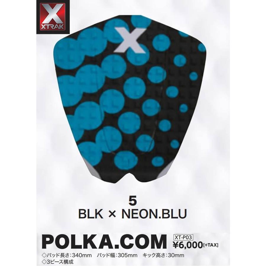 【メーカーお取り寄せ】XTRAK. ( エックストラック ) POLKA.COM 2017 モデル [ BLK×NEON.BLU ] ショートボード デッキパッド