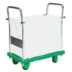 シシク キャンバスかご付運搬台車 (プラスチック製、ハンドル両袖固定 (プラスチック製、ハンドル両袖固定 (プラスチック製、ハンドル両袖固定 、PCキャスター付) SC-SSGP-2 b19