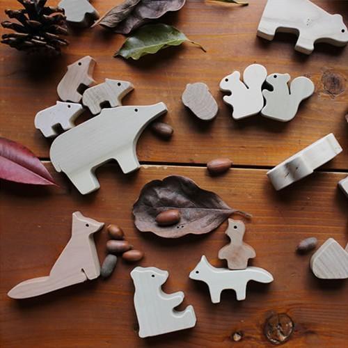 オークヴィレッジ 森のどうぶつみき つみき 木 無垢材 無塗装 出産祝い ラッピング あすつく ラッピング無料