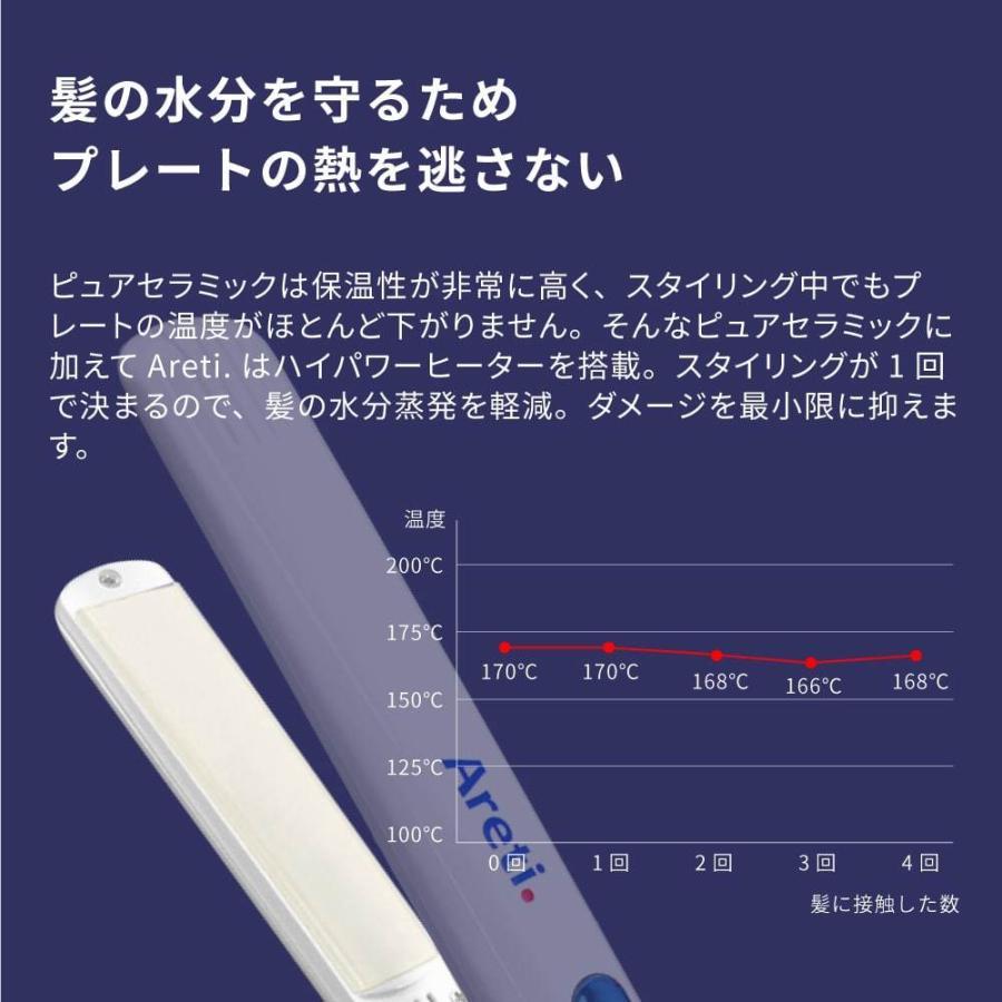 Areti アレティ 東京発メーカー 最大3年保証 20mm マイナスイオン 2way ヘアアイロン コテ ストレート & カール 純セラミック i679PCPH-WH|areti|12