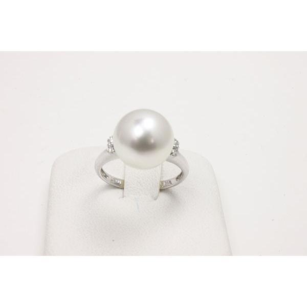 【全品送料無料】 真珠 指輪 パール リング 南洋白蝶真珠パール指輪リング11mm-12mm ホワイトカラー プラチナ ダイヤ, アンティークガレ c5aab8ad