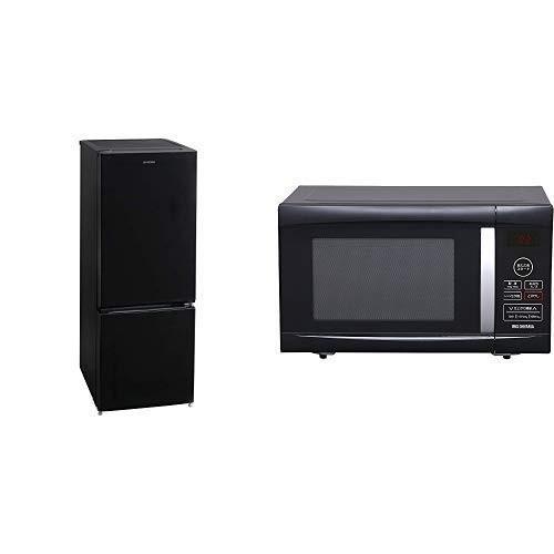 セット販売アイリスオーヤマ 冷蔵庫 156L 右開き ノンフロン 冷凍冷蔵庫 ブラック NRSD-16A-B NRSD-16A-B & 電子