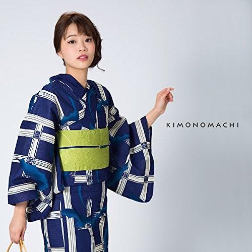 KIMONOMACHI 浴衣セット 3点セット(浴衣、帯、下駄) レディース「紺色格子にコウモリ」TLサイズ