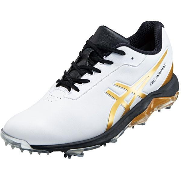[2019年モデル] アシックス メンズ GEL-ACE PRO 4 ゲルエース プロ4 ソフトスパイク ゴルフシューズ 1113A013 ホワイト/リッチゴールド 101