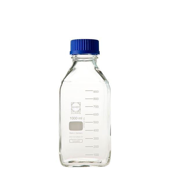 (柴田科学)ねじ口角びん(メジュームびん) 青キャップ付 1L(10個) 0172301000A
