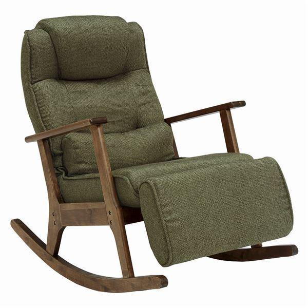 椅子   ロッキングチェアリクライニングチェア (足置き肘付き) 張地:ポリエステル