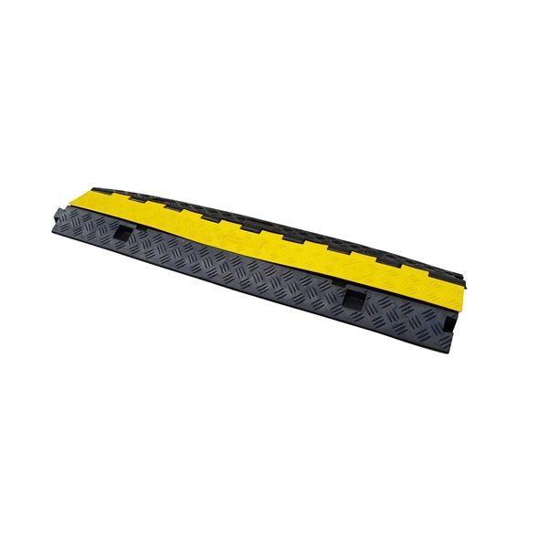 安全用品 | (2本セット) ケーブルカバーケーブルガード (2列配管タイプ) リサイクルゴム製 カバー:PVC製 (工事現場 イベント会場)