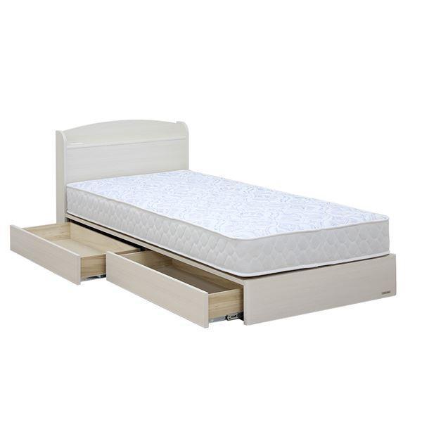 収納付きベッド | 日本製 引き出し付き 宮付き ダブルベッド ヘルシーフィットマットレス付き ホワイト 『ミルキー』