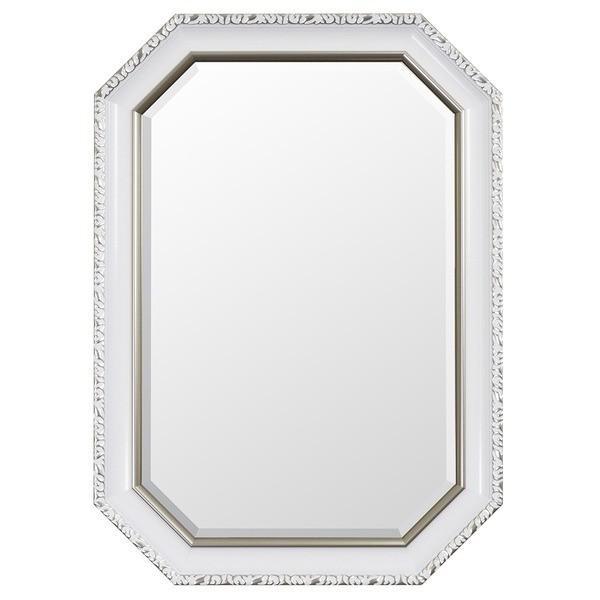 レトロ調 ウォールミラー姿見鏡 (パールホワイト) 幅50cm×奥行3cm×高さ70cm 飛散防止加工 吊り紐 金具付き 日本製