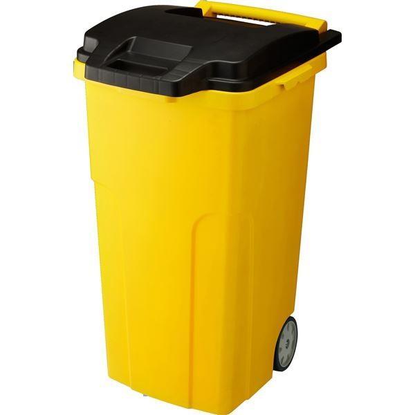 日用雑貨   可動式 ゴミ箱キャスターペール (90C4 4輪) イエロー フタ付き (家庭用品 掃除用品)
