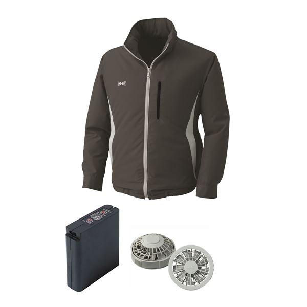 作業着 | 空調服 フード付ポリエステル製空調服 大容量バッテリーセット ファンカラー:グレー 0520G22C69S3 (カラー:チャコール サイズ:L)