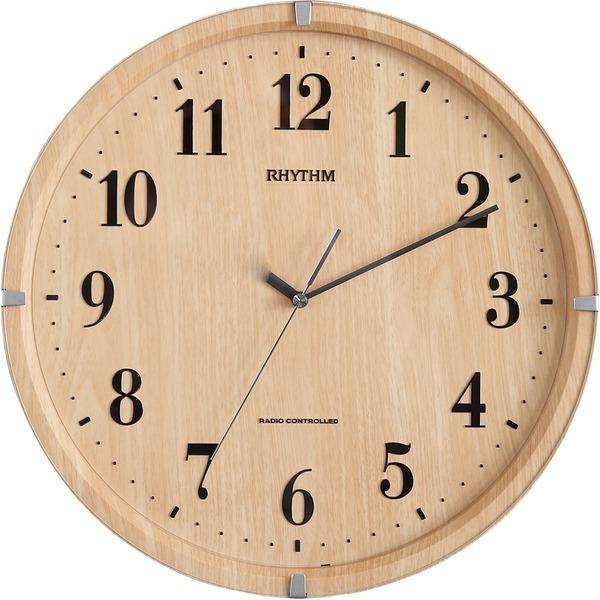 壁掛け時計電波時計 (円形 ライトブラウン) 直径32.9cm 電波式 連続秒針 ガラスカバー付 『ライブリーアリス』 (リビング)