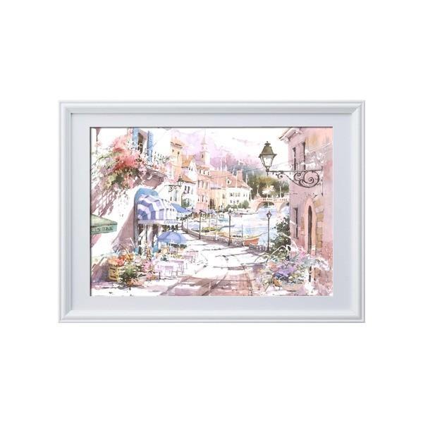 絵画   マリリン・シマンドル絵画額 白いフレーム・花の絵・風景画「ウォーターフロントヴィレッジ」 arinkurin2